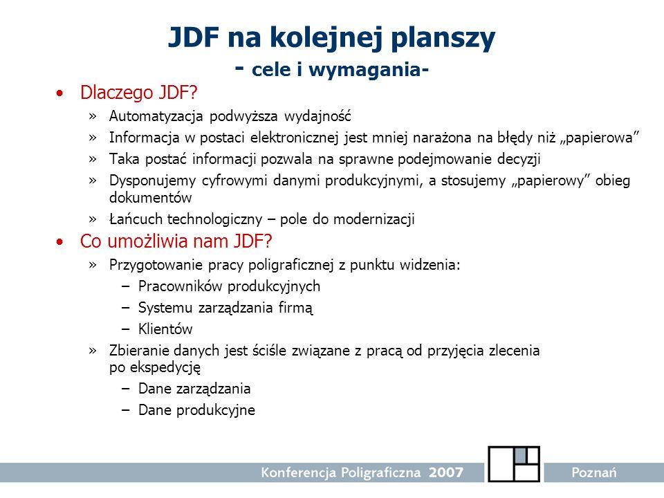 JDF na kolejnej planszy - cele i wymagania- Dlaczego JDF? »Automatyzacja podwyższa wydajność »Informacja w postaci elektronicznej jest mniej narażona