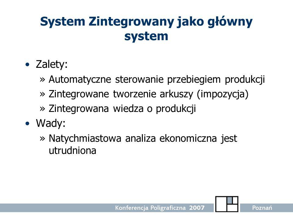System Zintegrowany jako główny system Zalety: »Automatyczne sterowanie przebiegiem produkcji »Zintegrowane tworzenie arkuszy (impozycja) »Zintegrowan