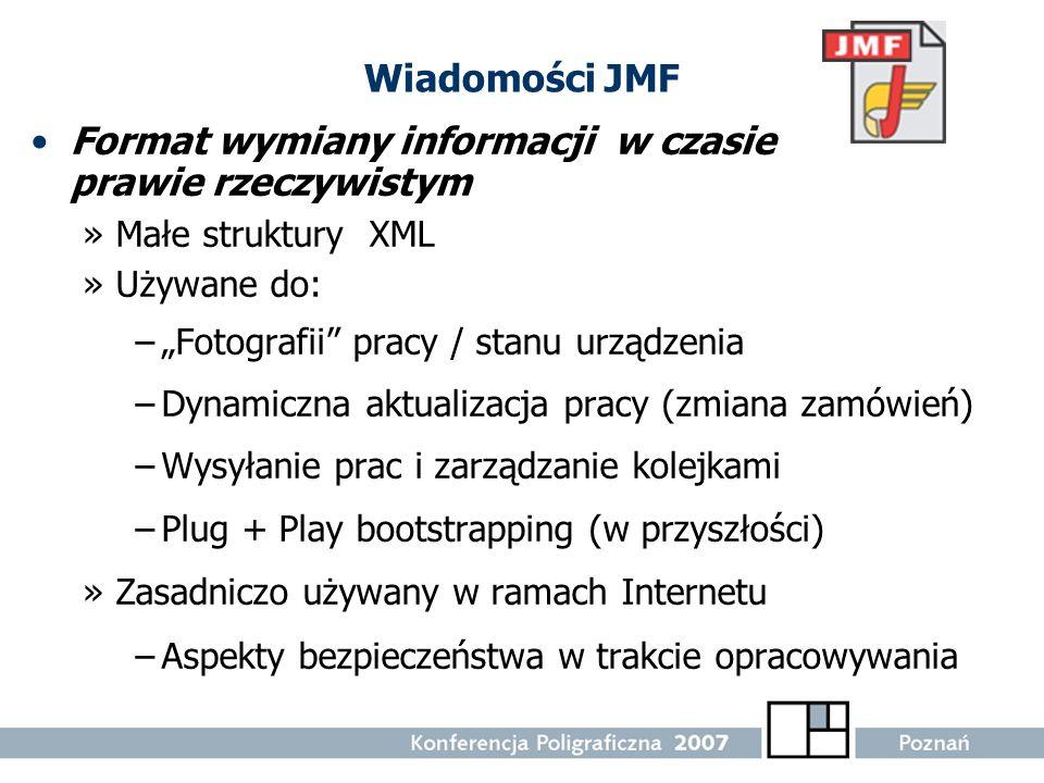 Wiadomości JMF Format wymiany informacji w czasie prawie rzeczywistym »Małe struktury XML »Używane do: –Fotografii pracy / stanu urządzenia –Dynamiczn