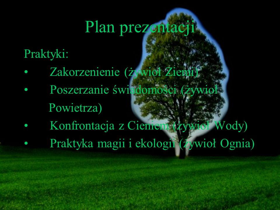 Plan prezentacji Praktyki: Zakorzenienie (żywioł Ziemi) Poszerzanie świadomości (żywioł Powietrza) Konfrontacja z Cieniem (żywioł Wody) Praktyka magii