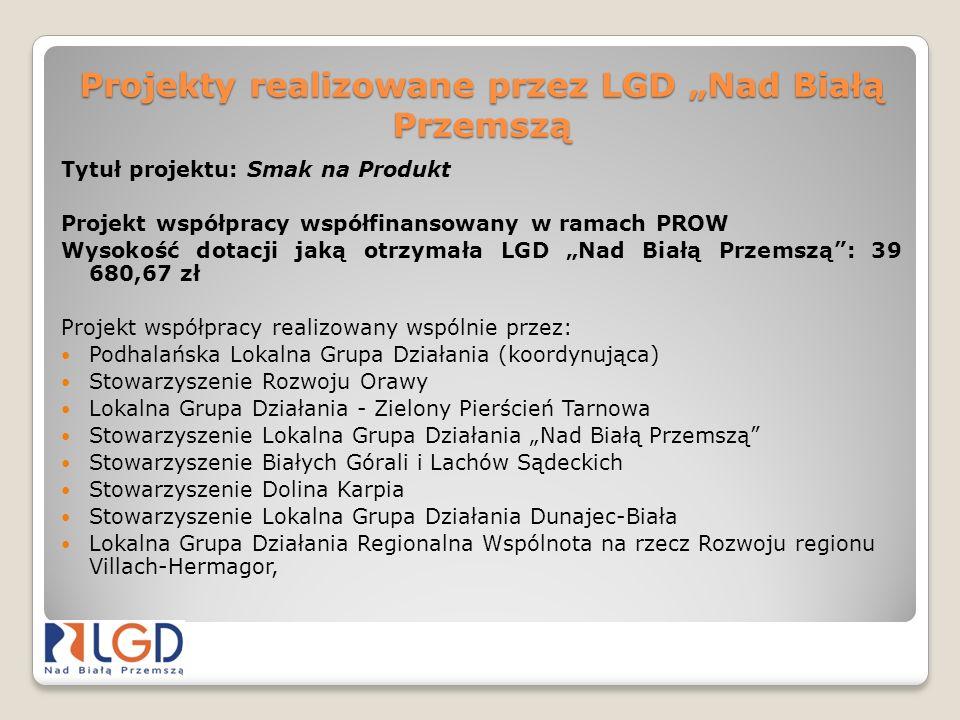 Projekty realizowane przez LGD Nad Białą Przemszą Tytuł projektu: Smak na Produkt Projekt współpracy współfinansowany w ramach PROW Wysokość dotacji j