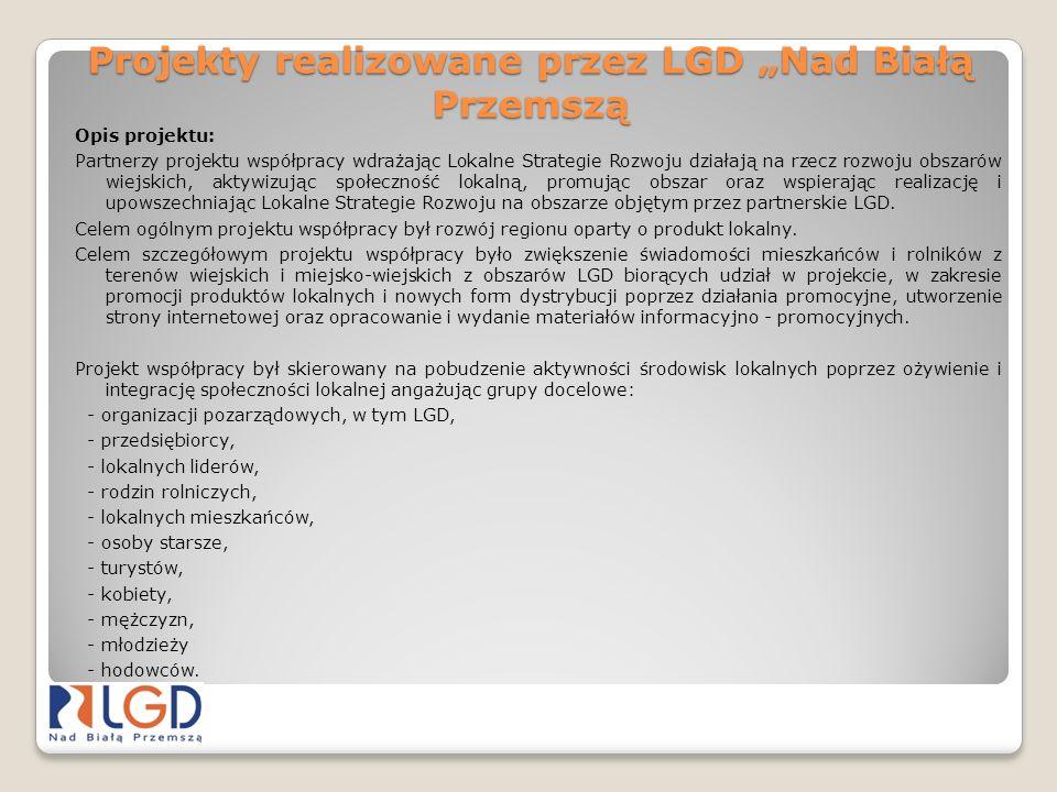 Projekty realizowane przez LGD Nad Białą Przemszą Opis projektu: Partnerzy projektu współpracy wdrażając Lokalne Strategie Rozwoju działają na rzecz r