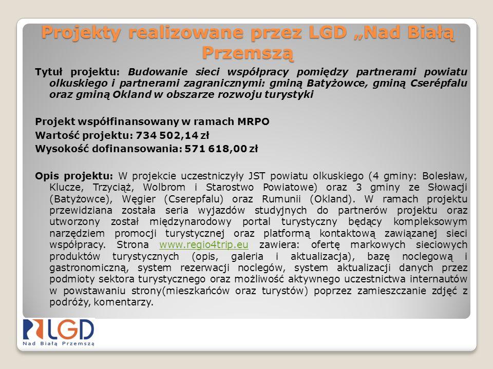 Projekty realizowane przez LGD Nad Białą Przemszą Tytuł projektu: Budowanie sieci współpracy pomiędzy partnerami powiatu olkuskiego i partnerami zagra
