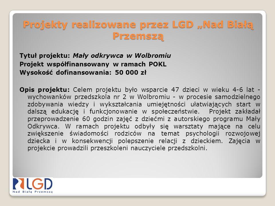 Projekty realizowane przez LGD Nad Białą Przemszą Tytuł projektu: Mały odkrywca w Wolbromiu Projekt współfinansowany w ramach POKL Wysokość dofinansow