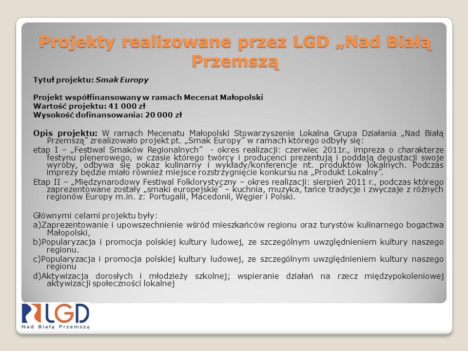 Projekty realizowane przez LGD Nad Białą Przemszą Tytuł projektu: Smak Europy Projekt współfinansowany w ramach Mecenat Małopolski Wartość projektu: 4