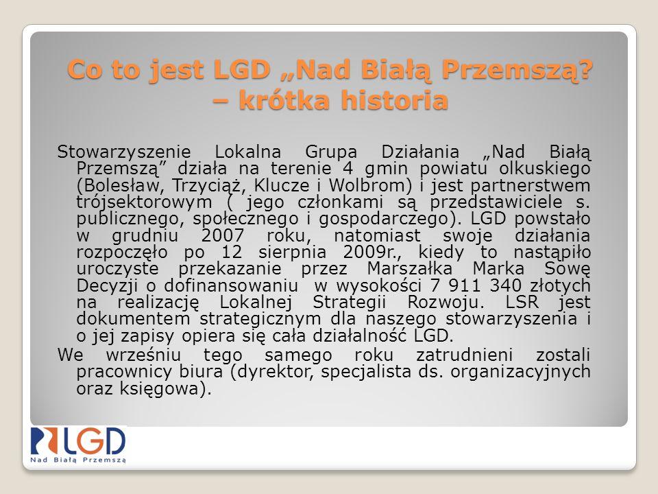 Co to jest LGD Nad Białą Przemszą? – krótka historia Stowarzyszenie Lokalna Grupa Działania Nad Białą Przemszą działa na terenie 4 gmin powiatu olkusk