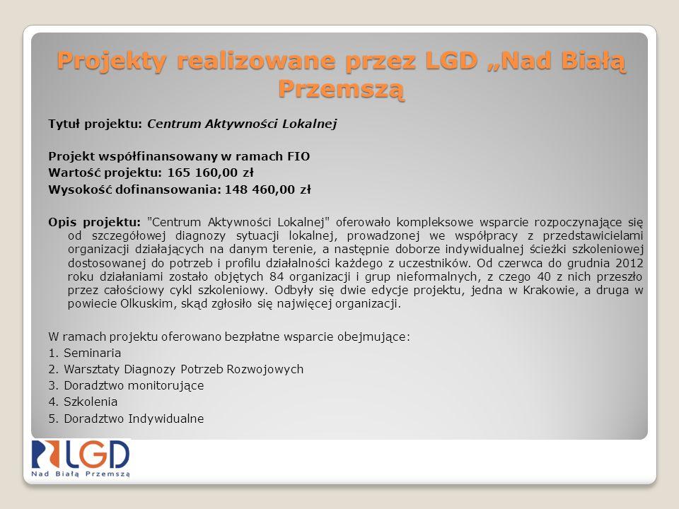 Projekty realizowane przez LGD Nad Białą Przemszą Tytuł projektu: Centrum Aktywności Lokalnej Projekt współfinansowany w ramach FIO Wartość projektu: