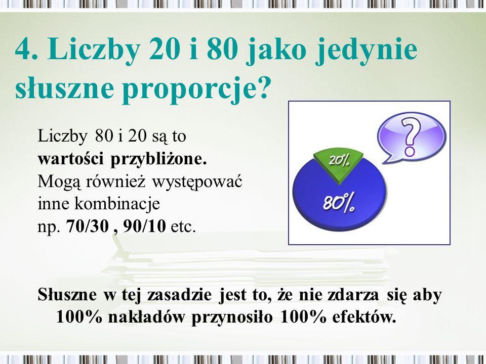 Liczby 80 i 20 są to wartości przybliżone. Mogą również występować inne kombinacje np. 70/30, 90/10 etc. Słuszne w tej zasadzie jest to, że nie zdarza
