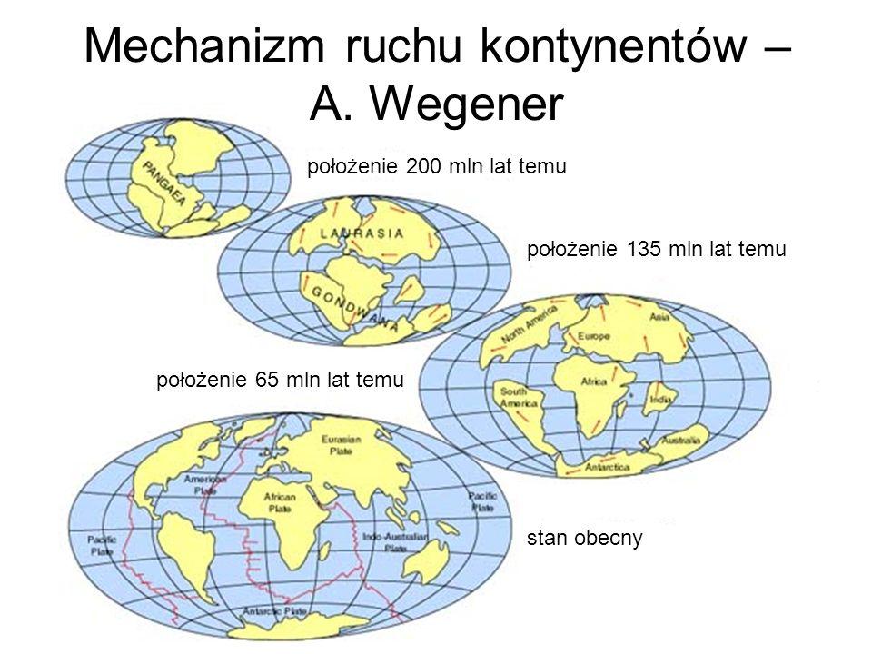 Mechanizm ruchu kontynentów – A. Wegener położenie 200 mln lat temu położenie 135 mln lat temu położenie 65 mln lat temu stan obecny