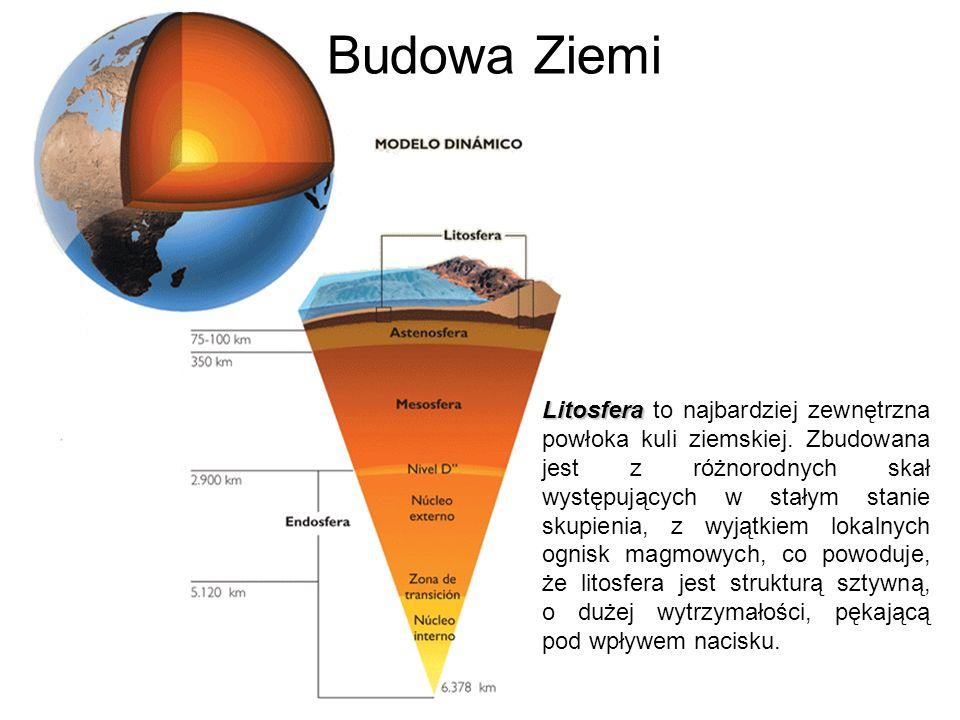Budowa Ziemi Litosfera Litosfera to najbardziej zewnętrzna powłoka kuli ziemskiej. Zbudowana jest z różnorodnych skał występujących w stałym stanie sk