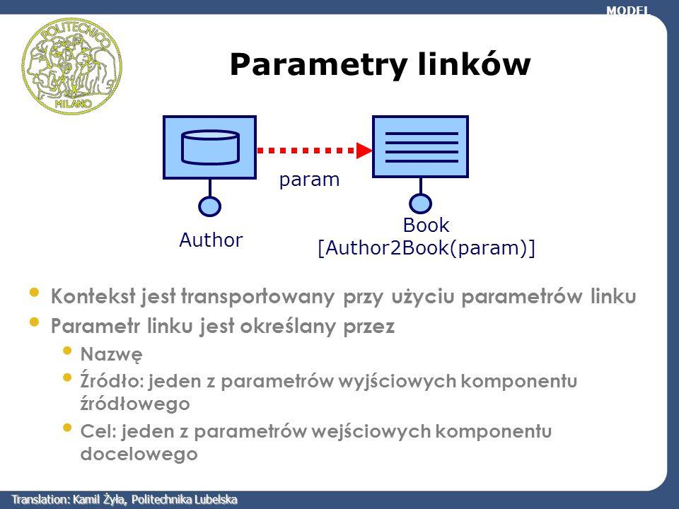 Parametry linków Book [Author2Book(param)] Kontekst jest transportowany przy użyciu parametrów linku Parametr linku jest określany przez Nazwę Źródło: