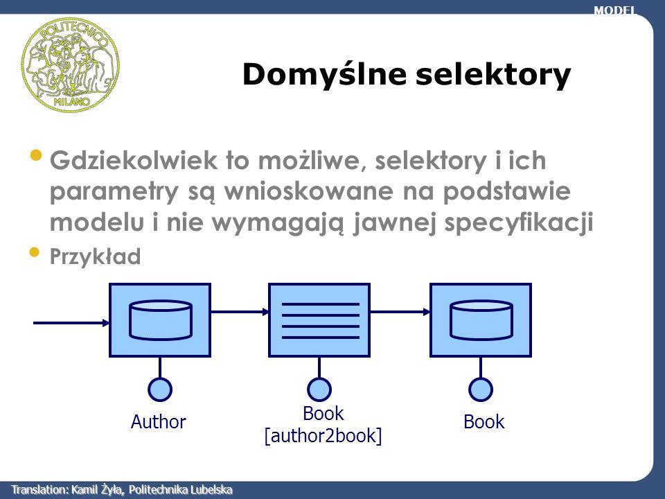 Domyślne selektory Gdziekolwiek to możliwe, selektory i ich parametry są wnioskowane na podstawie modelu i nie wymagają jawnej specyfikacji Przykład M