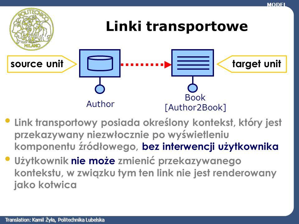 Linki transportowe Author Book [Author2Book] Link transportowy posiada określony kontekst, który jest przekazywany niezwłocznie po wyświetleniu kompon