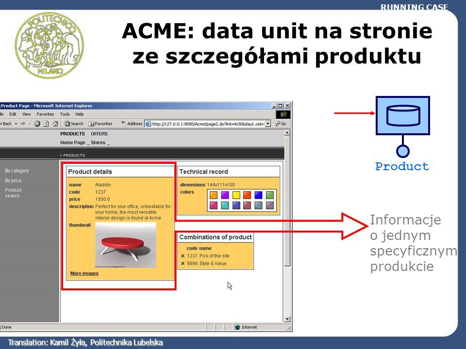 ACME: data unit na stronie ze szczegółami produktu Informacje o jednym specyficznym produkcie RUNNING CASE Product Translation: Kamil Żyła, Politechni