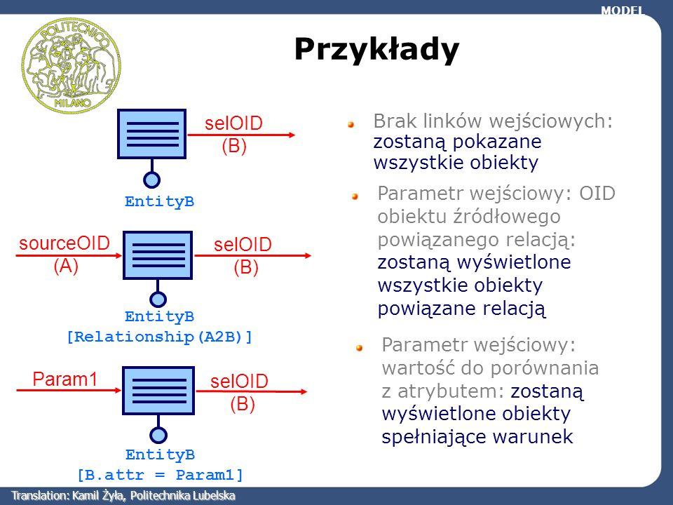 Przykłady Brak linków wejściowych: zostaną pokazane wszystkie obiekty Parametr wejściowy: OID obiektu źródłowego powiązanego relacją: zostaną wyświetl