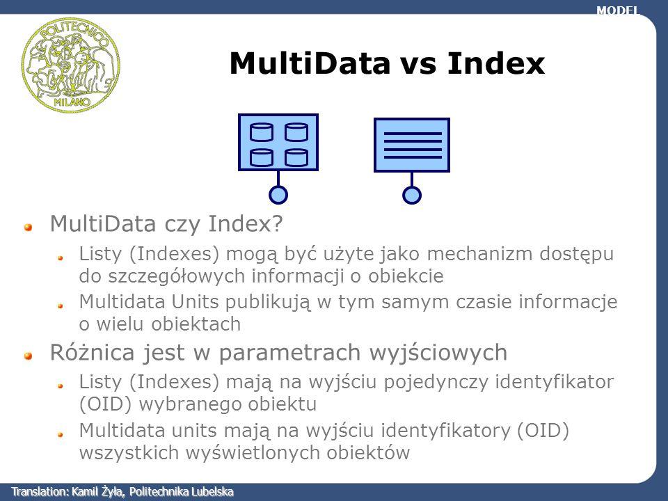 MultiData vs Index MultiData czy Index? Listy (Indexes) mogą być użyte jako mechanizm dostępu do szczegółowych informacji o obiekcie Multidata Units p