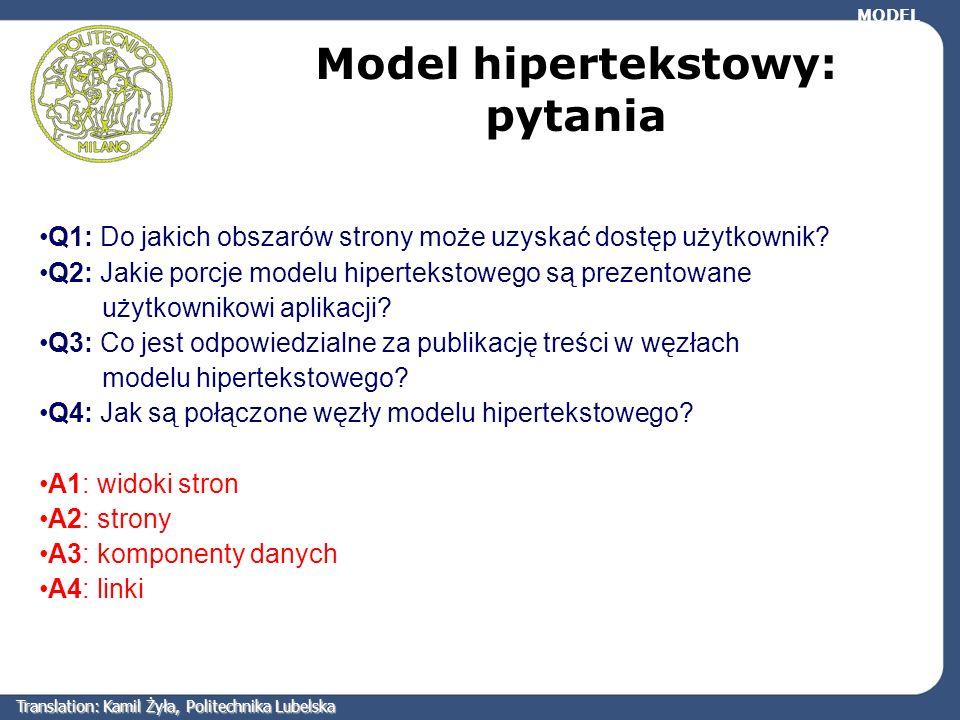 Q1: Do jakich obszarów strony może uzyskać dostęp użytkownik? Q2: Jakie porcje modelu hipertekstowego są prezentowane użytkownikowi aplikacji? Q3: Co