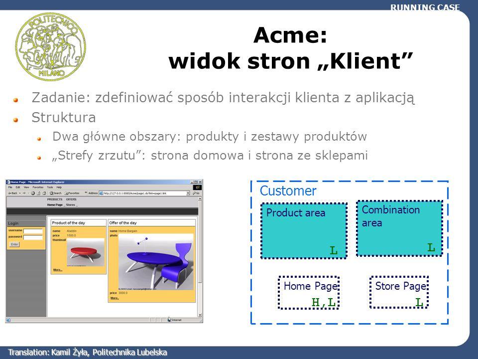 Acme: widok stron Klient Zadanie: zdefiniować sposób interakcji klienta z aplikacją Struktura Dwa główne obszary: produkty i zestawy produktów Strefy