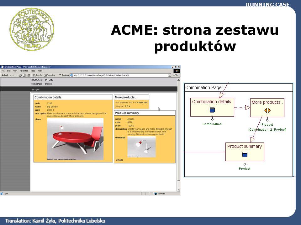 RUNNING CASE ACME: strona zestawu produktów Translation: Kamil Żyła, Politechnika Lubelska