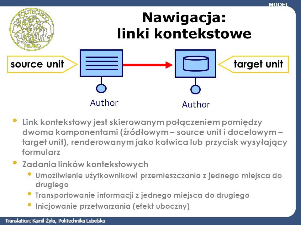 Nawigacja: linki kontekstowe Link kontekstowy jest skierowanym połączeniem pomiędzy dwoma komponentami (źródłowym – source unit i docelowym – target u