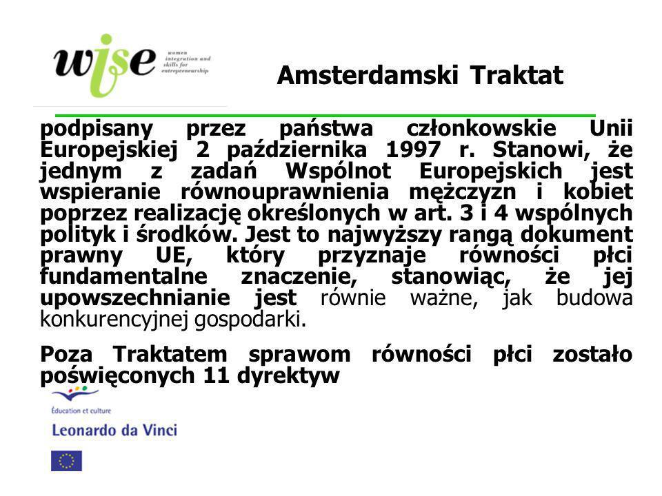 Amsterdamski Traktat podpisany przez państwa członkowskie Unii Europejskiej 2 października 1997 r. Stanowi, że jednym z zadań Wspólnot Europejskich je