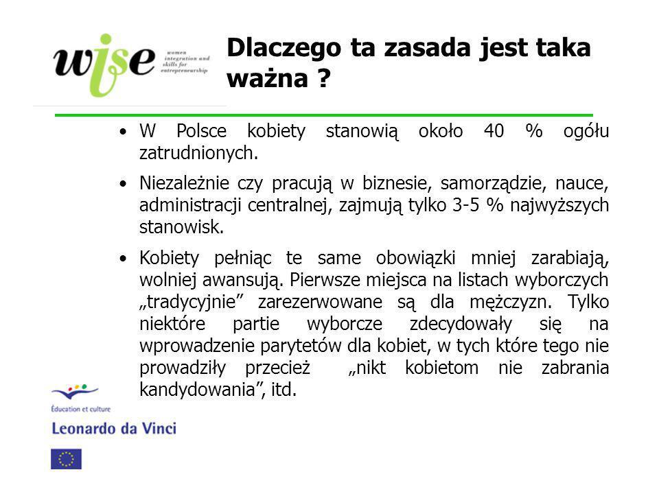 Dlaczego ta zasada jest taka ważna ? W Polsce kobiety stanowią około 40 % ogółu zatrudnionych. Niezależnie czy pracują w biznesie, samorządzie, nauce,
