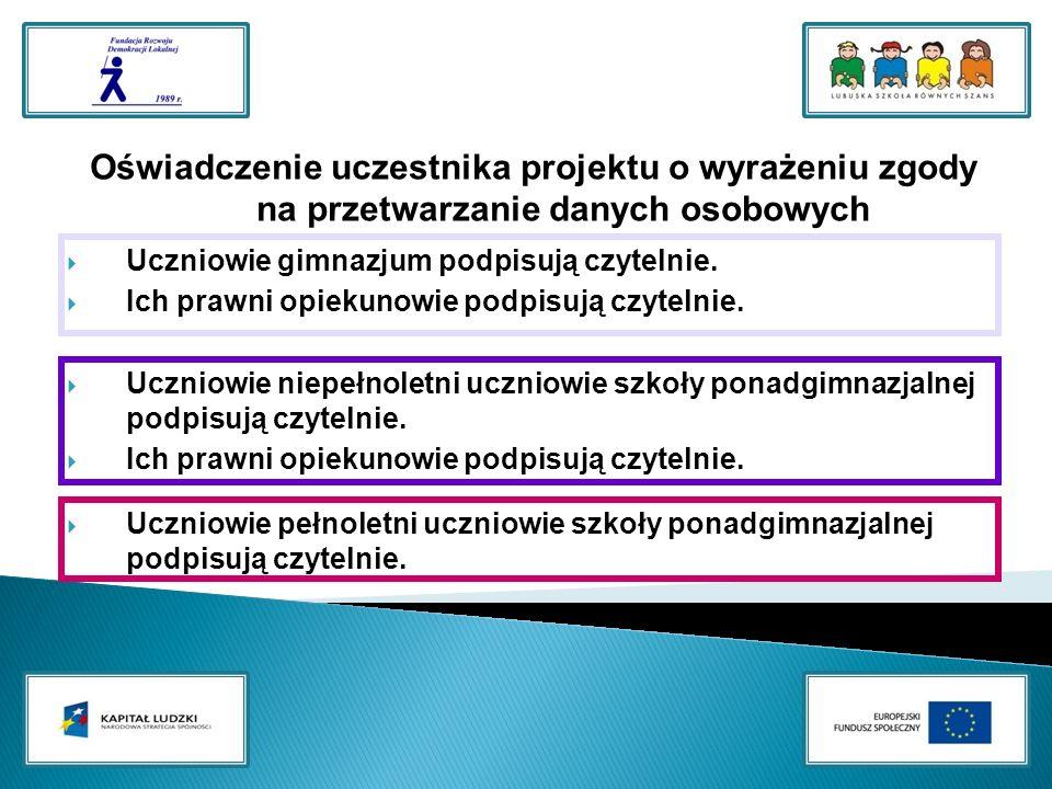 Oświadczenie uczestnika projektu o wyrażeniu zgody na przetwarzanie danych osobowych Uczniowie gimnazjum podpisują czytelnie.