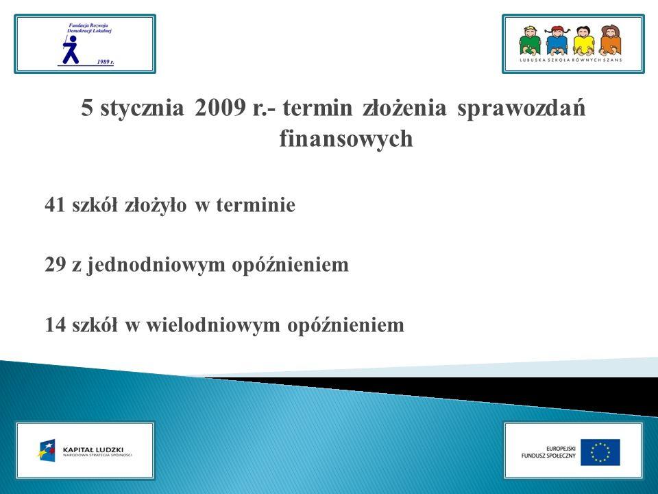 5 stycznia 2009 r.- termin złożenia sprawozdań finansowych 41 szkół złożyło w terminie 29 z jednodniowym opóźnieniem 14 szkół w wielodniowym opóźnieniem