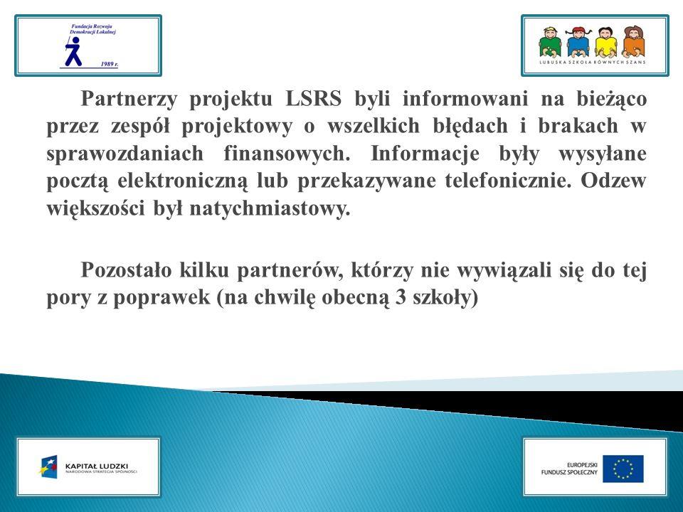 Partnerzy projektu LSRS byli informowani na bieżąco przez zespół projektowy o wszelkich błędach i brakach w sprawozdaniach finansowych.