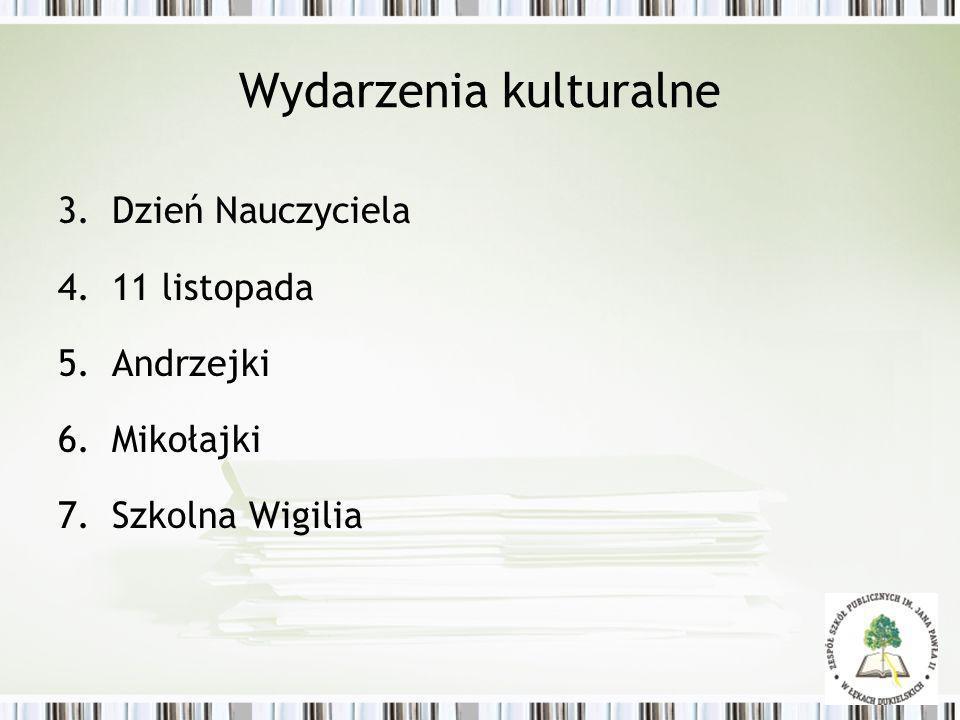 Wydarzenia kulturalne 3.Dzień Nauczyciela 4.11 listopada 5.Andrzejki 6.Mikołajki 7.Szkolna Wigilia