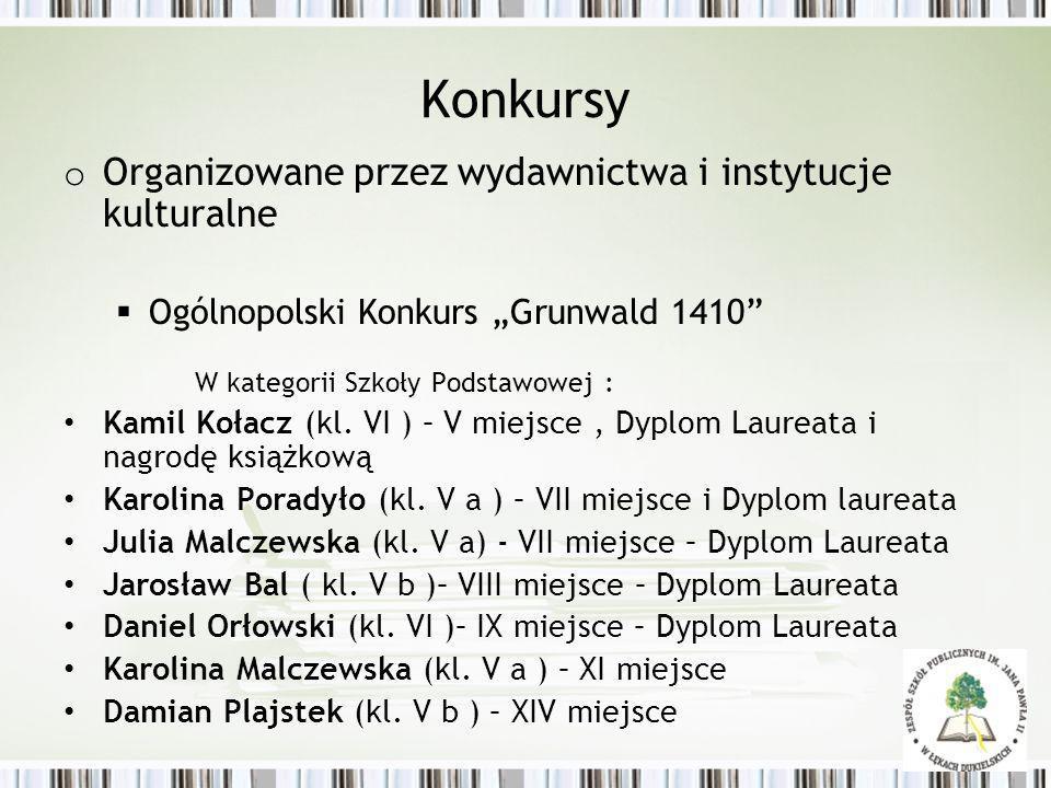 Konkursy o Organizowane przez wydawnictwa i instytucje kulturalne Ogólnopolski Konkurs Grunwald 1410 W kategorii Szkoły Podstawowej : Kamil Kołacz (kl