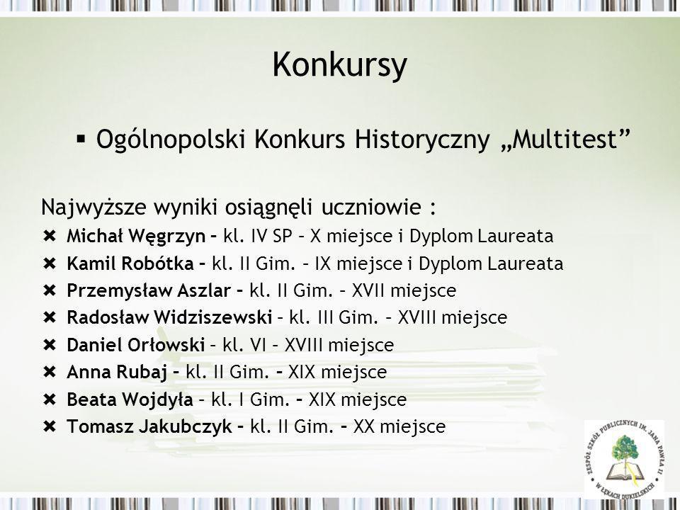 Konkursy Ogólnopolski Konkurs Historyczny Multitest Najwyższe wyniki osiągnęli uczniowie : Michał Węgrzyn – kl. IV SP – X miejsce i Dyplom Laureata Ka