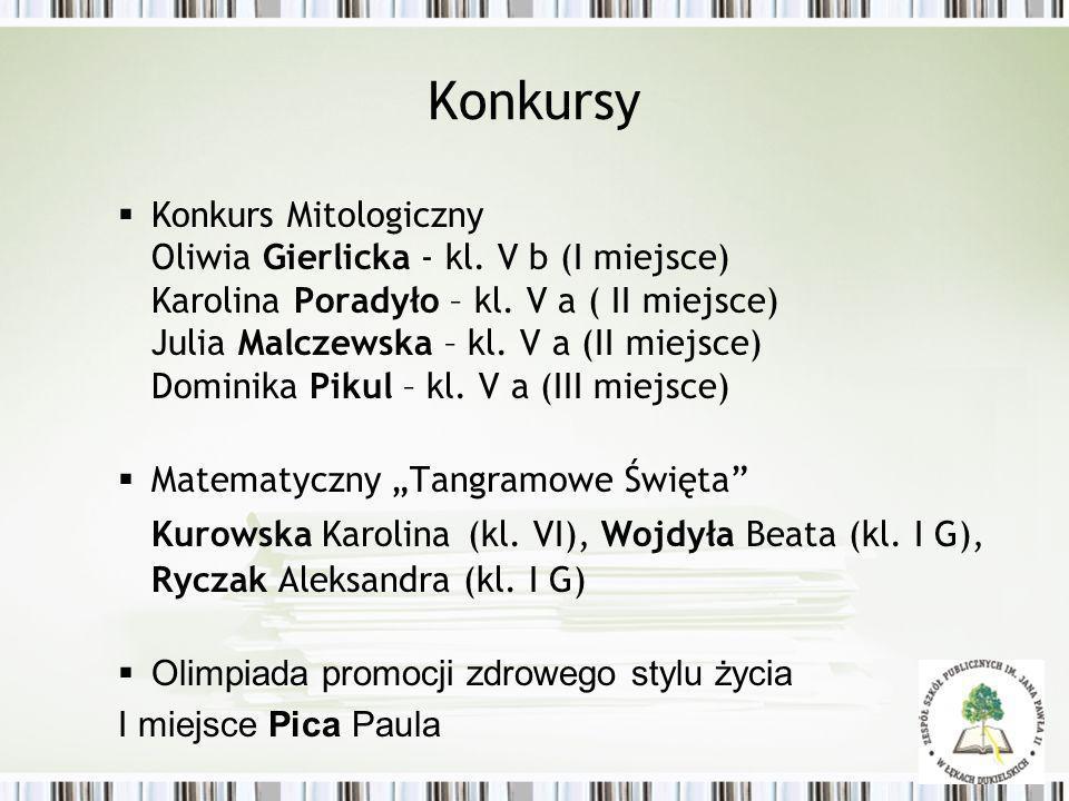 Konkursy Konkurs Mitologiczny Oliwia Gierlicka - kl. V b (I miejsce) Karolina Poradyło – kl. V a ( II miejsce) Julia Malczewska – kl. V a (II miejsce)
