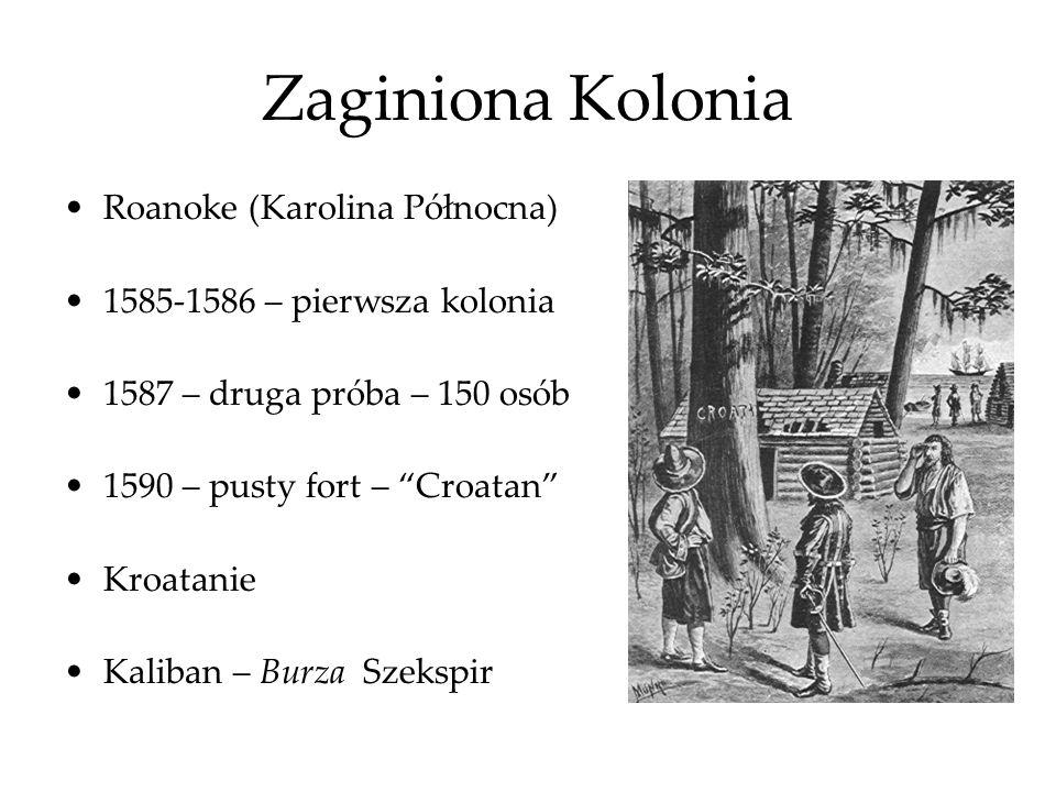 Zaginiona Kolonia Roanoke (Karolina Północna) 1585-1586 – pierwsza kolonia 1587 – druga próba – 150 osób 1590 – pusty fort – Croatan Kroatanie Kaliban