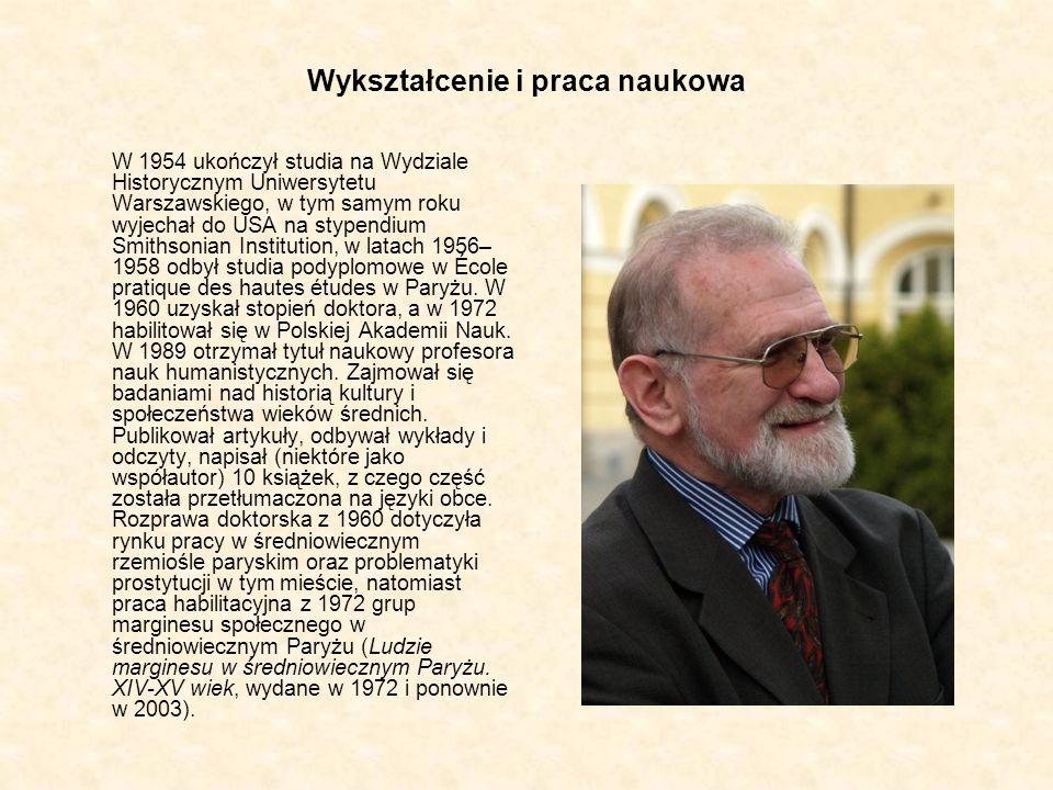 Wykształcenie i praca naukowa W 1954 ukończył studia na Wydziale Historycznym Uniwersytetu Warszawskiego, w tym samym roku wyjechał do USA na stypendi