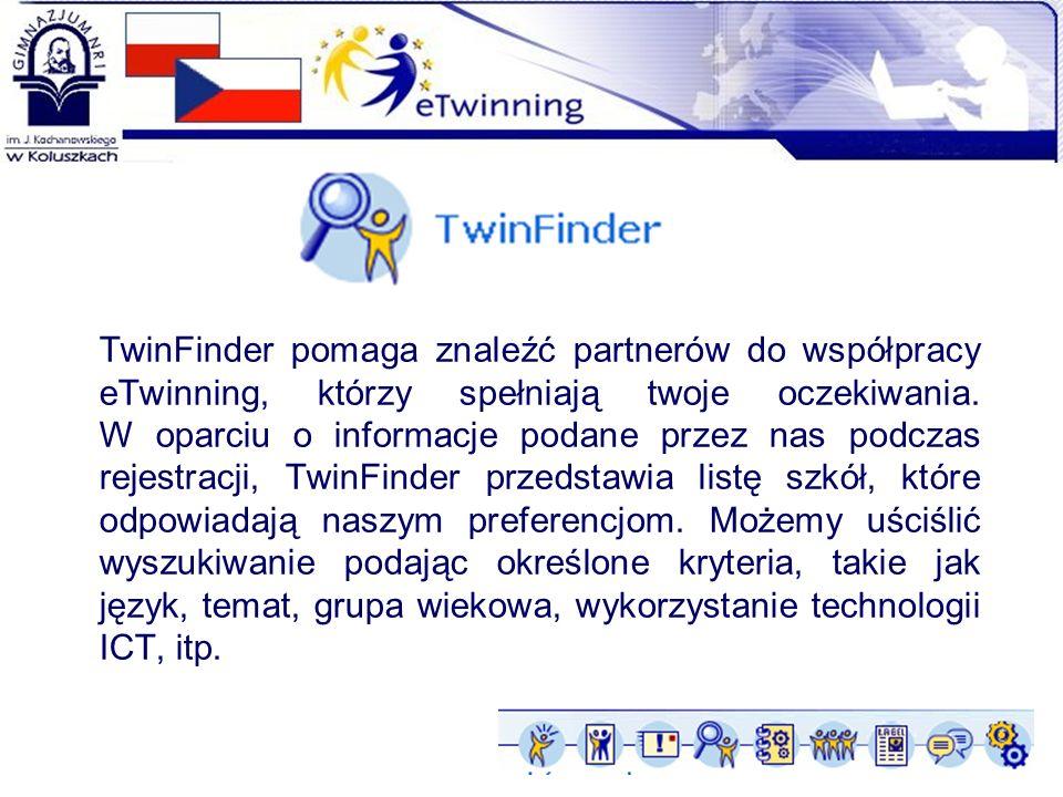 TwinFinder pomaga znaleźć partnerów do współpracy eTwinning, którzy spełniają twoje oczekiwania. W oparciu o informacje podane przez nas podczas rejes