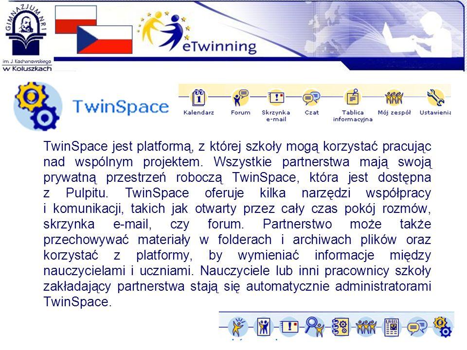TwinSpace jest platformą, z której szkoły mogą korzystać pracując nad wspólnym projektem. Wszystkie partnerstwa mają swoją prywatną przestrzeń roboczą