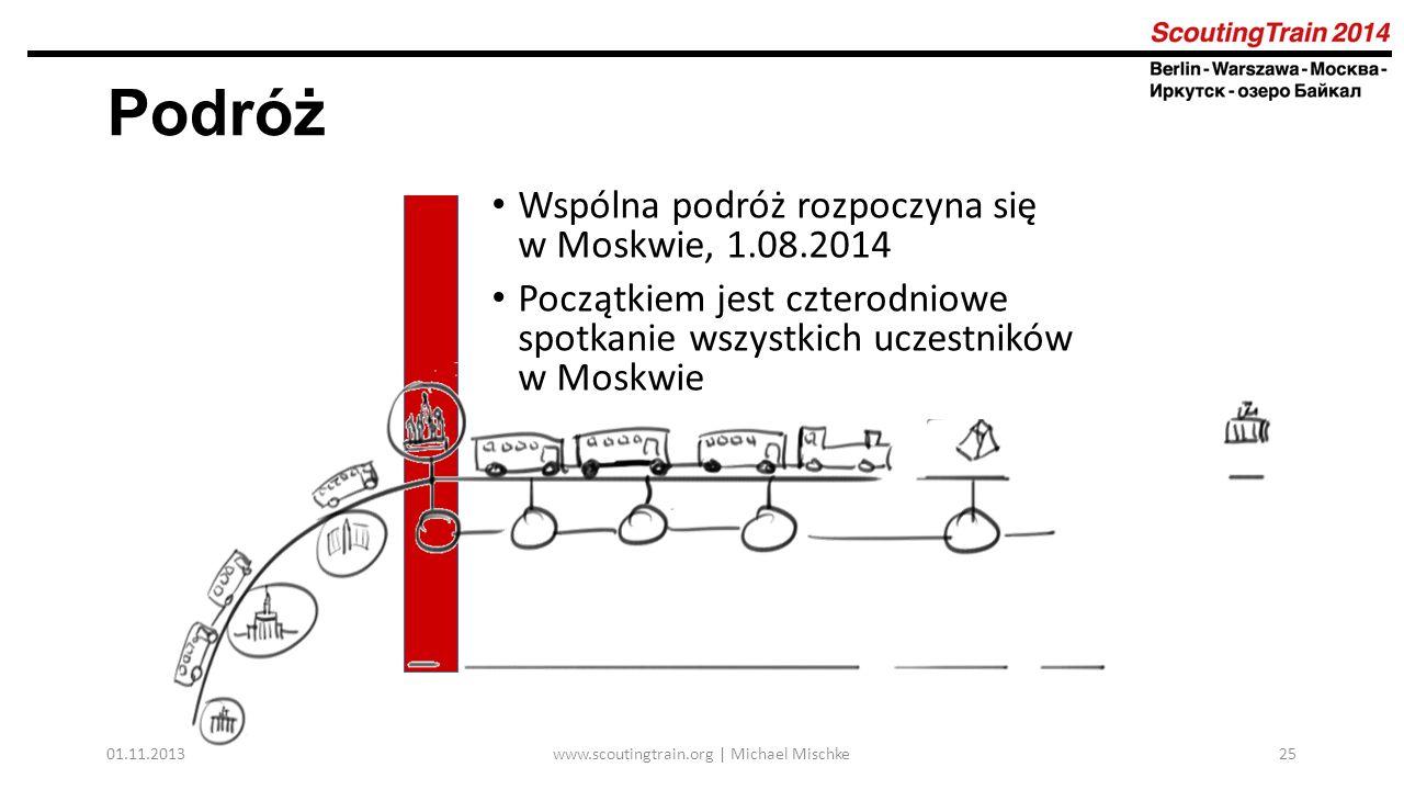 01.11.2013www.scoutingtrain.org | Michael Mischke25 Podróż Wspólna podróż rozpoczyna się w Moskwie, 1.08.2014 Początkiem jest czterodniowe spotkanie wszystkich uczestników w Moskwie