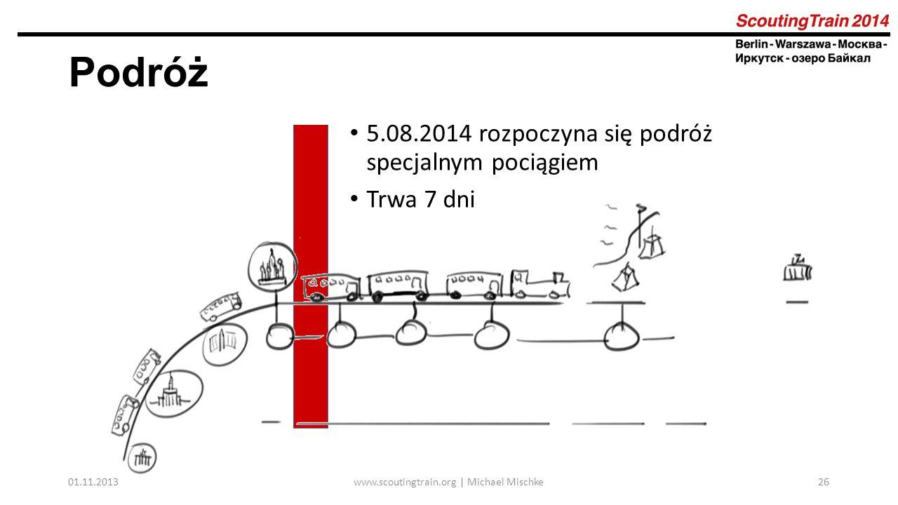 01.11.2013www.scoutingtrain.org | Michael Mischke26 Podróż 5.08.2014 rozpoczyna się podróż specjalnym pociągiem Trwa 7 dni