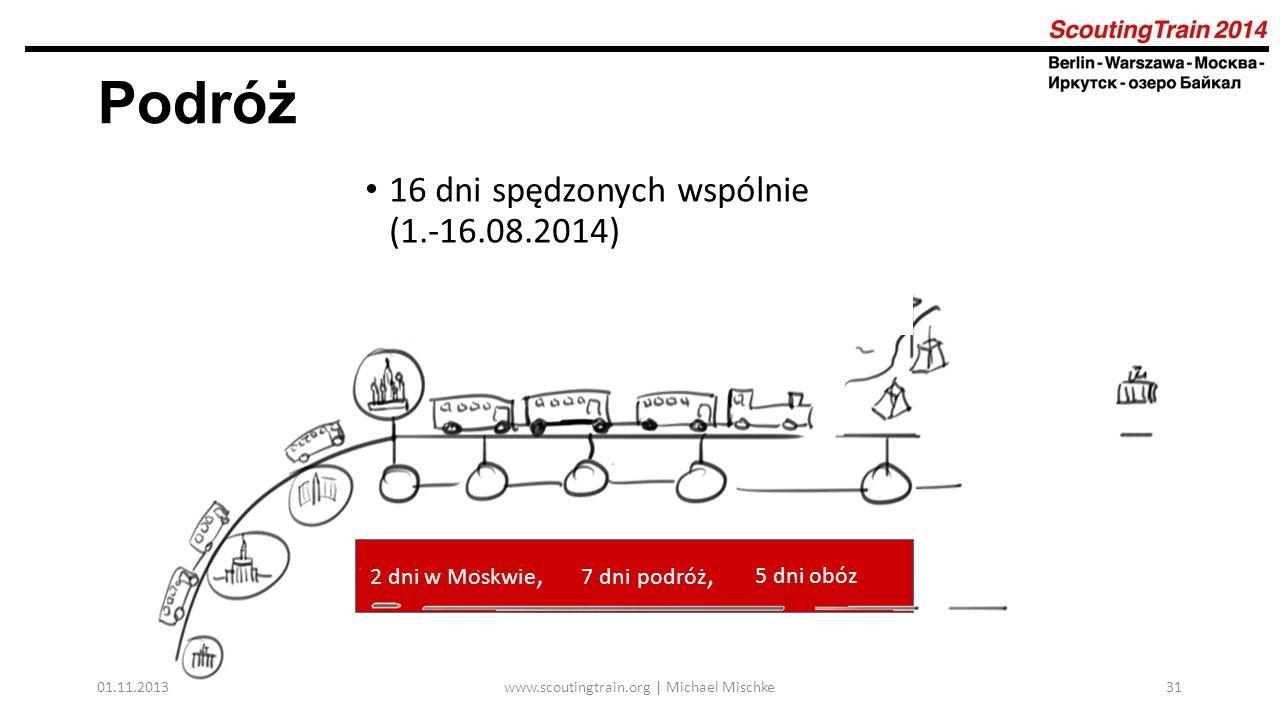 01.11.2013www.scoutingtrain.org | Michael Mischke31 Podróż 16 dni spędzonych wspólnie (1.-16.08.2014) 2 dni w Moskwie, 7 dni podróż, 5 dni obóz