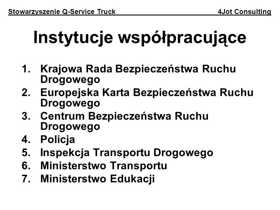 Instytucje współpracujące 1.Krajowa Rada Bezpieczeństwa Ruchu Drogowego 2.Europejska Karta Bezpieczeństwa Ruchu Drogowego 3.Centrum Bezpieczeństwa Ruchu Drogowego 4.Policja 5.Inspekcja Transportu Drogowego 6.Ministerstwo Transportu 7.Ministerstwo Edukacji Stowarzyszenie Q-Service Truck 4Jot Consulting