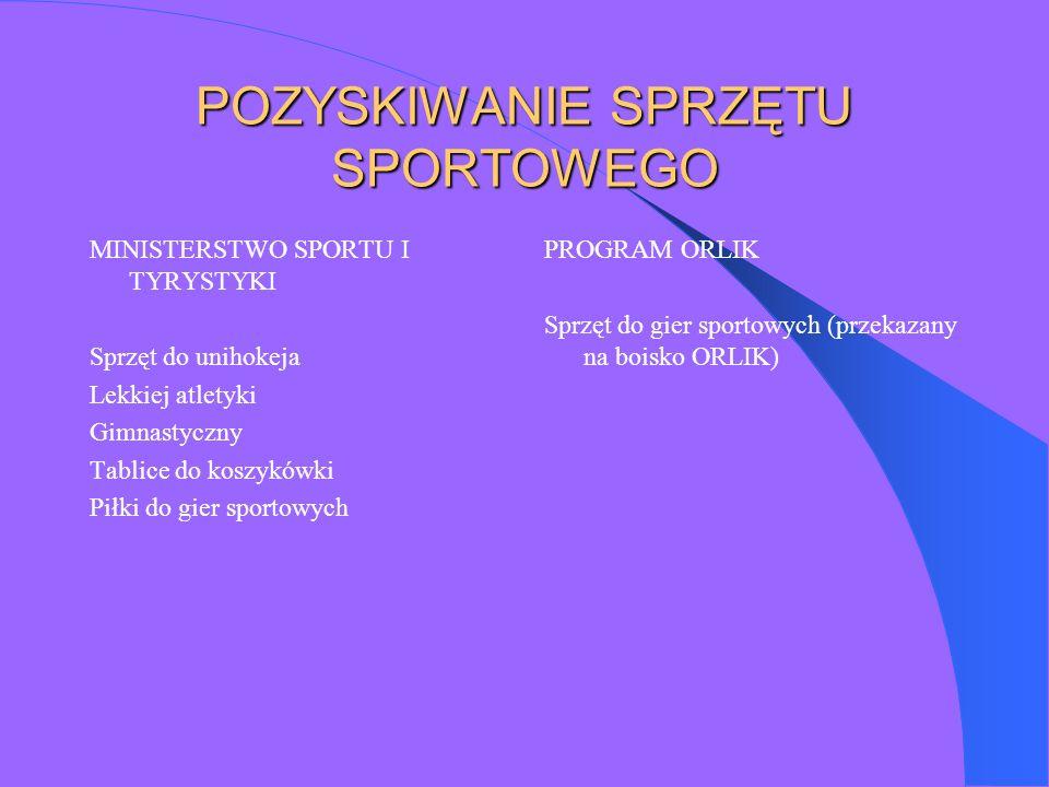 POZYSKIWANIE SPRZĘTU SPORTOWEGO MINISTERSTWO SPORTU I TYRYSTYKI Sprzęt do unihokeja Lekkiej atletyki Gimnastyczny Tablice do koszykówki Piłki do gier