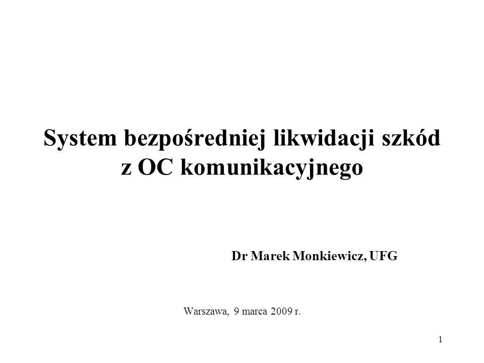 1 System bezpośredniej likwidacji szkód z OC komunikacyjnego Dr Marek Monkiewicz, UFG Warszawa, 9 marca 2009 r.