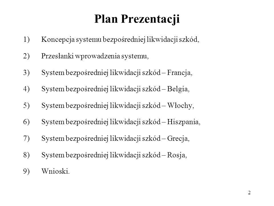 2 Plan Prezentacji 1)Koncepcja systemu bezpośredniej likwidacji szkód, 2)Przesłanki wprowadzenia systemu, 3)System bezpośredniej likwidacji szkód – Fr