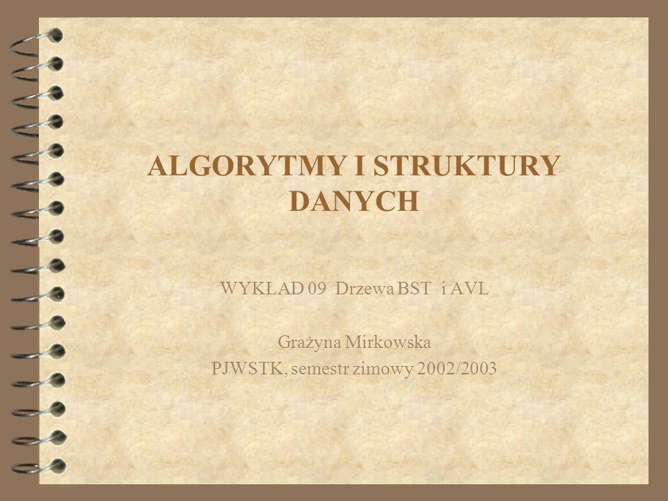 ALGORYTMY I STRUKTURY DANYCH WYKŁAD 09 Drzewa BST i AVL Grażyna Mirkowska PJWSTK, semestr zimowy 2002/2003