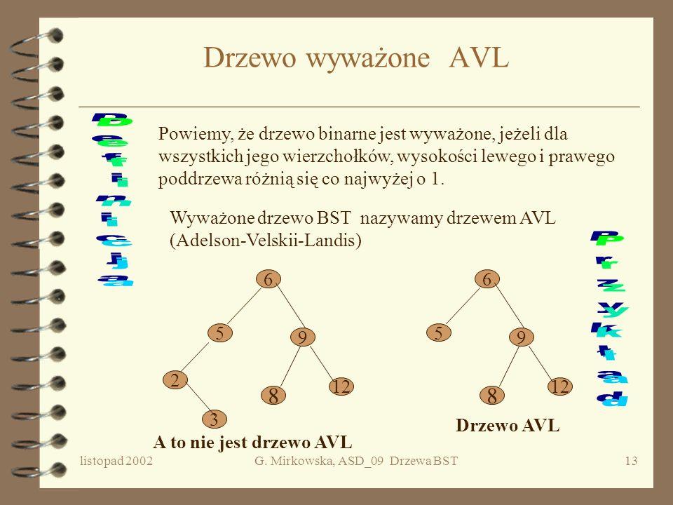 listopad 2002G. Mirkowska, ASD_09 Drzewa BST12 Zastosowanie: wyszukiwanie i sortowanie Zadanie A Dany jest zbiór n elementów należących do pewnego upo