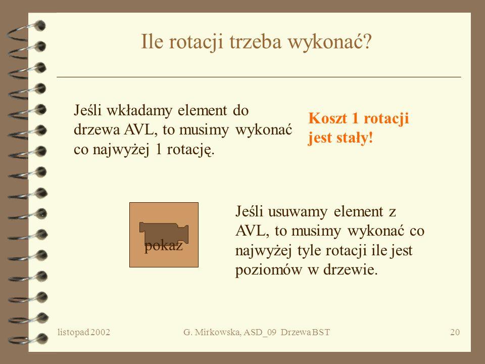 listopad 2002G. Mirkowska, ASD_09 Drzewa BST19 Po rotacji W prawo względem A i w lewo wzgl. C C B U X Z 0 A Y*Y* 0 Podwójna rotacja w lewo A C U X Y*Y