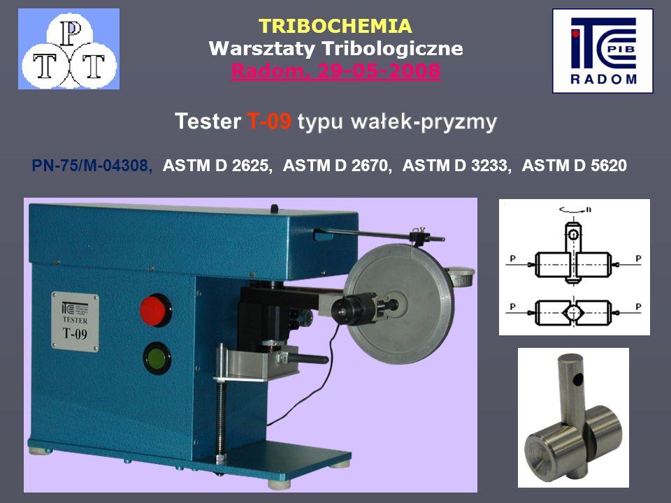 TRIBOCHEMIA Warsztaty Tribologiczne Radom, 29-05-2008 PN 75/M-04308, ASTM D 2625, ASTM D 2670, ASTM D 3233, ASTM D 5620