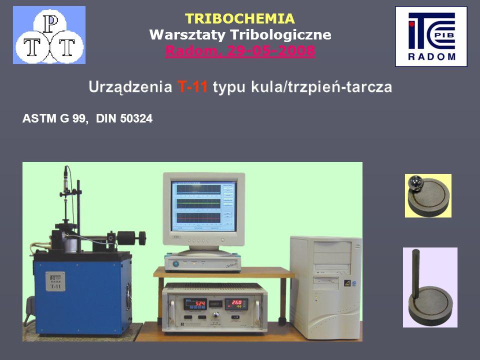 TRIBOCHEMIA Warsztaty Tribologiczne Radom, 29-05-2008 ASTM G 99, DIN 50324