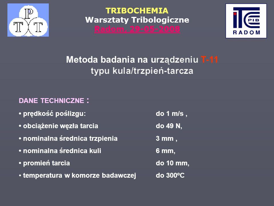 TRIBOCHEMIA Warsztaty Tribologiczne Radom, 29-05-2008 DANE TECHNICZNE : prędkość poślizgu: do 1 m/s, obciążenie węzła tarciado 49 N, nominalna średnic